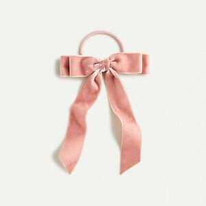 NWT J.Crew Women's Silk Velvet Bow Hair Tie Pink Dusty Rose Kate Middleton