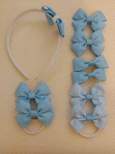 Handmade School Colour Hair Bow Clips Bobbles baby blue Headband 9 pieces