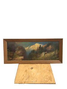 Vintage 1930s 19x44in A.P. Greer Framed Landscape Artwork