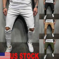 US Men Ripped Jeans Super Skinny Slim Fit Denim Pant Broken Hole Frayed Trousers