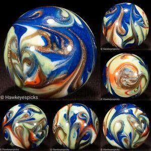 "STELLAR 1 1/2"" Modern HANDMADE Bootlegger Glass Marble NM+ FRAC Hawkeyespicks dc"