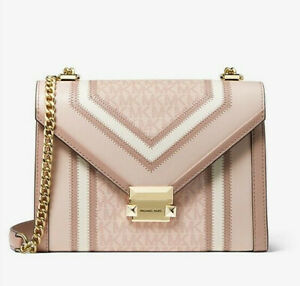 NWT💘🎁MICHAEL KORS WHITNEY LARGE LOGO AND LEATHER CONVERTIBLE SHOULDER BAG $298
