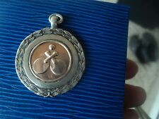 Sterling Silver & Gold Fob Medal h/m 1954 Chester & District Table Tennis League