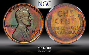 1957-D LINCOLN WHEAT CENT NGC MS 65 RB BU EXQUISITE COLOR TONED GEM BEAUTY