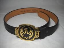 Silver Creek Black Genuine Leather Belt w/ Adm Gold & Black Eagle Buckle