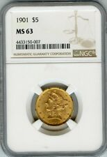 1901 Gold US $5 Liberty Half Eagle NGC MS 63