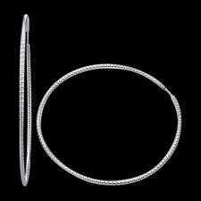 14k White Gold Milgrain Diamond Cut Huggies Hoop Earrings, 0.85 Inch