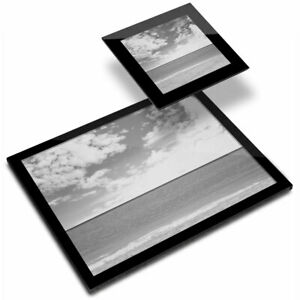 Glass Placemat  & Coaster BW - Vintage Beach Photo Surf Surfer  #40886