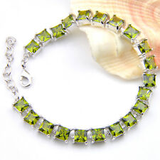 Woman Jewelry Natural Shiny Square Olive Peridot Gems Siler Charming Bracelets