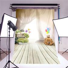 Photography Backdrops Balloons Bear Children Wooden Floor Vinyl Background 4015