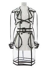 WANDA NYLON Clear PU PVC Trench Raincoat Coat Jacket FR34/US4 S ~NWT~