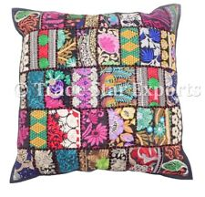 "Indian Embroidered Cushion Cover Patchwork Vintage 18""Pillow Case Christmas Gift"
