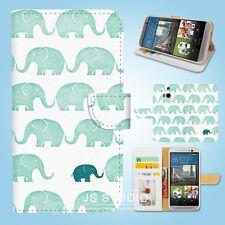 HTC One M7 M8 M9 Print Flip Wallet Case Cover Elepant Pattern W019