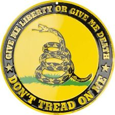 DON'T TREAD ON ME LIBERTY OR GIVE ME DEATH EMBOSSED METAL NOVELTY ROUND SIGN