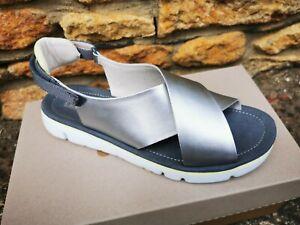Camper 'Oruga' Silver Crossover Sandals - Size 6 - BNIB