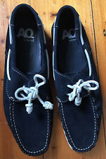 Aquila Mens Blue Suede Boat Loafers