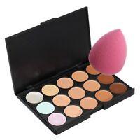 15 Colors Contour Makeup Cosmetic Concealer Palette + Sponge Puff + 4X Brush Set