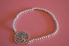 Stretch Bracelet - Tree of Life Bracelet 925 Sterling Silver Beaded Tree of Life