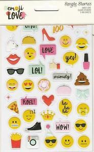 Simple Stories EMOJI LOVE Clear Stickers 107pc Photo Fun Planner Scrapbook Cards
