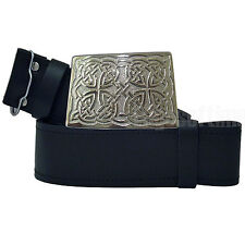 GENUINE REAL LEATHER SCOTTISH KILT BELT & CHROME CELTIC BUCKLE 30 TO 48 INCHES