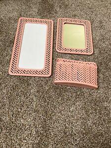 3 Piece Pink Locker Decor Including Mirror, White Board & Marker Holder.