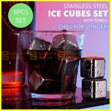 8pcs Stainless Steel Ice Cubes Whiskey Wine Metal Stones Cooling Rocks Cooler