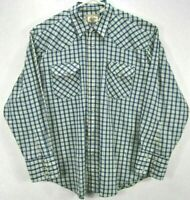 Western Plains Mens L Shirt Blue Plaid Long Sleeve Button Up Pearl Snap Pockets