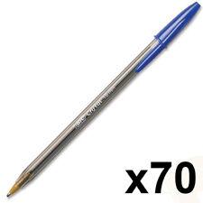 BIG SALE ~ 70 x BIC Cristal Large Ball Pens Wide Point (1.6 mm) - Blue