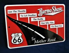 ROUTE 66 BURMA SHAVE - *US MADE* Embossed Metal Sign - Man Cave Garage Bar Decor