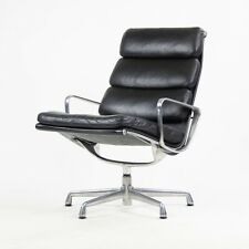 Eames Herman Miller Soft Pad Aluminum Group Lounge Chair Black Leather 2x Avail