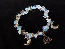 Pretty Opalite moonstone bracelet triquetra & Déesse Lune WICCA PAGAN Crystal