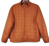 LL BEAN Mens Orange Nylon Quilted Insulated Zip Jacket Coat Size Extra Large
