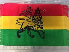 """RED GOLD GREEN LION OF JUDAH FACE TOWEL FLANNEL REGGAE ROOTS CULTURE 21"""" x 12"""""""