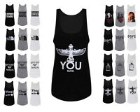 NEW WOMENS LADIES SLOGAN PRINTED VEST SLEEVELESS T SHIRT CELEBRITY TOP