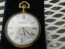 New Old Stock LeJour  Quartz Pocketwatch-White Face-Easy Read-GOLD PLATED