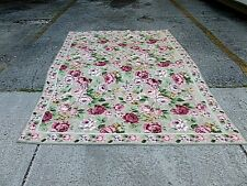 """CHIC HAND MADE PORTUGUESE ABUSSON NEEDLEPOINT RUG OF ROSES  8 ' 6""""  X  5' 9"""""""