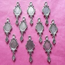 Tibetan Silver Looking Glass/Hand Mirror Charm pack of 10
