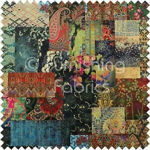 Modern Printed Velvet Wonderland Patchwork Multi Coloured Upholstery Fabric