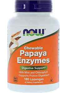 NOW Papaya Enzymes - Digestive support - 180 Lozenges