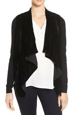 Michael Kors Velvet Front Long Sleeve Waterfall Cardigan Black Small $125