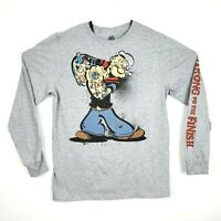 Popeye Mens Size M Gray Popeye Tattoo Strong To The Finish Long Sleeve T Shirt