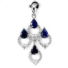 Pendentif Saphir bleu . Argent 925 + Chaine en argent 925.TMPL_SKU005735