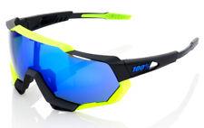 100 SPEEDTRAP Cycling UV Sunglasses BLACK/NEON YELLOW BLUE MIRROR LENS