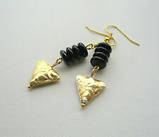 Black Glass Disc and Gold Plate TRIANGLE Bead Dangle EARRINGS    KCJ2587