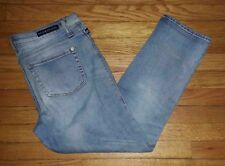 Rock & Republic Jeans Indee Sz 10 M 34x27 Lt Blue Distressed Blue p3024