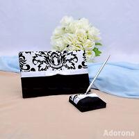 GB25b New Black White Flocking Wedding Ceremony Florish Guest Book & Pen Set