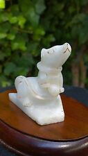 Pure White Hetian Nephrite Jade Good Fortune Wealthy Rat Figurine Statue.