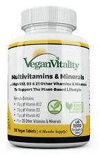 Vitalidad Vegano Multivitaminas y minerales con alta resistencia vitamina B12, D3 y K2