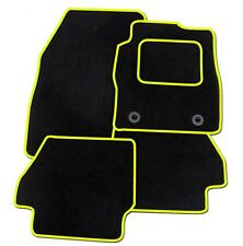 PEUGEOT 107 TAILORED BLACK CAR MATS WITH YELLOW TRIM