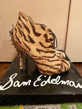 Sam Edelman Elsa Tan Tiger Print Real Fur High Heel Booties - 6 - NIB